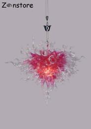 2019 la forma del cuore ha condotto le luci dentellare Lampade a forma di cuore di colore rosa di fantasia di arte delle ragazze Camera lampadari di vetro soffiati fatti a mano Lampadari a LED Lampadario la forma del cuore ha condotto le luci dentellare economici