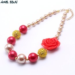 Wholesale Rose Gold Color Beads - MHS.SUN Rose Flower Kid Chunky Necklace Newest Red+Gold Color Fashion Bubblegume Bead Chunky Necklace Jewelry For Baby Kid Girl