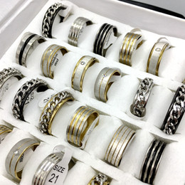 Wholesale Wedding Womens - Wholesale 30pcs 3 Mix Style lot stainless steel rings Mens Womens fashion jewelry party ring Gift ring Band ring free shipping