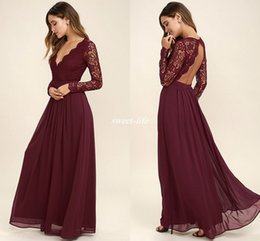 Wholesale Cheap Long Sleeve Lace Dresses - 2017 Burgundy Chiffon Bridesmaid Dresses Long Sleeves Western Country Style V-Neck Backless Long Beach Lace Top Wedding Party Dresses Cheap