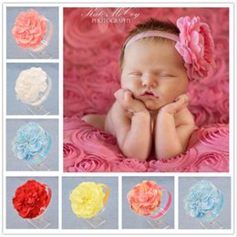 Wholesale Peony Hair Accessories Wholesale - NEW Baby Girls Floral Headband big peony Flower Hairband Infant Hair Weave Band kids Accessories Christmas Gifts wholesale Stock