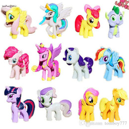 Wholesale Gold Pony - 12pcs set unicorn+Rainbow Dash horse model Action Figure toys ponies horse model For Children Christmas Gift