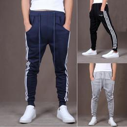 Wholesale drop crotch skinny pants men - Wholesale-Men Pocket Harem Pants Hip Hop Casual Side Stripe Skinny Sweatpants Low Drop Crotch Hip Hop Pants Loose Sweatpants Trousers Men