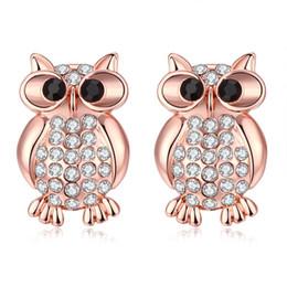 Wholesale Czech Earrings - Woman Ear Studs Wholesale Antiallergic Gold Plated Earrings for Women Fashion Personality Lovely Rose Golden Owl Czech Diamond Ear Studs