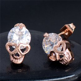Wholesale Silver Skull Earrings Women - 1 PC Fashion Trendy Gold Silver Plated Crystal Rhinestone Skull Stud Earrings Unique Chic Earring Women Jewelry Gifts