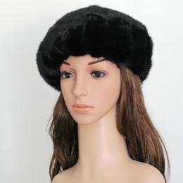 Wholesale Real Fur Pieces - Wholesale-2016 Real Piece Mink Fur Berets Hats Autumn Winter Genuine Women Fur Caps Female Headgear Ear Protector 1051