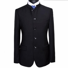 Wholesale Chinese Custom Suits - New arrival men suits chinese mandarin collar wedding suits tuxedos for men custom made groom prom suits for men (jacket+pants)