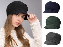 Wholesale Unique Knit Hats - Stand Focus Women Ladies Unique Knitted Woven Wool Tweed Cabby Baker Boy Newsboy Warm Elegant Winter Hat Cap Black Gray Navy Green
