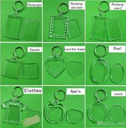 Wholesale Digital Photo Frame Key Ring - Free Shipping 1800pcs Blank Acrylic Rectangle Keychains Insert Photo Keyrings (Key ring chain)