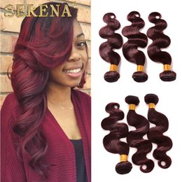 Wholesale Hair Extensions 22 Inch Red - 8A Brazilian Human Hair Weaves Burgundy Ombre Body Wave 3 Bundles Colorful Tone Colored 99J Red Wine Ombre Wavy Hair Weft Extensions