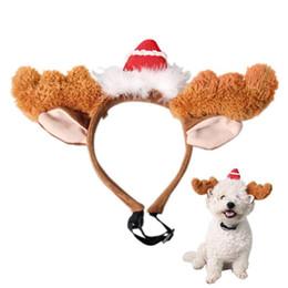 2019 diadema de cuernos de reno 2017 venta caliente de Navidad Gato Suministros Para Mascotas Perro Cosplay Reno Diadema Lindo Asta de Pelo de Felpa Banda Para Perros Gatos para mascotas productos para mascotas rebajas diadema de cuernos de reno