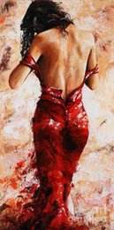 Wholesale Huge Wall Art Frame - Framed Lady in Red by Emerico Toth,Pure Handpainted Huge Wall Deco Abstract Fine Art Oil Painting On canvas Free Shipping,customized size