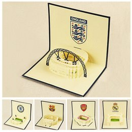 Wholesale Field Piece - Wholesale- (7 pieces lot)3D Handmade Greeting Cards with Envelop Paper Cut Pop Up Football Club Field Birthday Gift Card Combination Sale