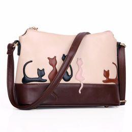 Wholesale Korea Brand Leather Bag - Wholesale- 2016 vintage Women Cat Rabbit Leather Appliques Shoulder Bag Cross Body bag Handbag women messenger bags designer brand Korea