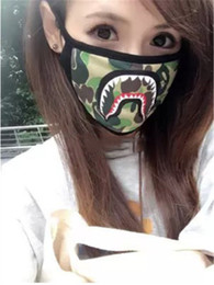 Wholesale Camo Face Masks - 2017 COLOR CAMO SHARK purple red blue shark mask fashion face mask men women shark facemask black yellow street style