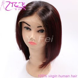 Wholesale 1b Burgundy Color Wigs - Ombre 1B Burgundy Lace Front Human Hair Wig 1b #99j Two Tone Colors Bob Wave Natural Full Lace Wigs For Women From YiFei