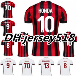 Wholesale Honda Ac - Top thai quality 17 18 AC Milan soccer jersey 2017 2018 SUSO LAPADULA HONDA BONAVENTURA ABATE DEULOFEU LOCATELLI football shirts