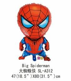 Wholesale Cartoon Shape Balloon - 10 pcs lot free shipping 80cm*47cm big size spiderman hero balloons helium foil balloon for baby toys shape hero balloons