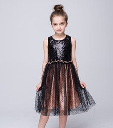 Wholesale Stretch Dress Princess - Kids girls cotton dress girl princess dress fashion Stretch Sequin Dress