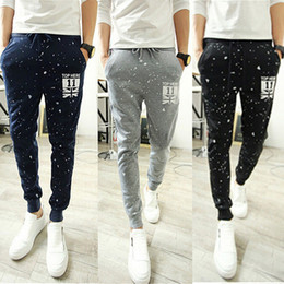 Wholesale Leisure Harem Pants Men - Wholesale-Fashion Mens Casual Loose Jogger Pencil Harem Pants Slacks Fashion Printed Elastic Drawstring Waist Leisure Trousers Sweatpants