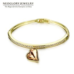 Wholesale Gold Plated Swarovski Crystal Bangles - Charm Heart Bangles & Bracelets for Women MADE WITH SWAROVSKI ELEMENTS Neoglory Crystal Three Colors Rhinestone Hand Female Jewelry