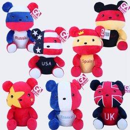 Wholesale Soft Teddy Bears Wholesalers - Kawaii National Flag Teddy Bear Plush Toys Doll USA UK France Soft Stuffed Animals Toys 10 Styles OOA2784