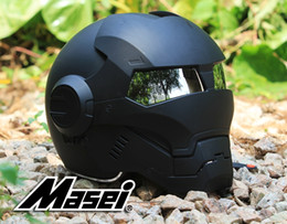 Wholesale Abs S - automic man DOT Ironman helmet motorcycle motorbike Iron man 610 Masei open face 2016 factory black wholesale