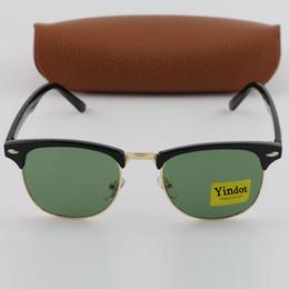 Wholesale Len Cases - 1pcs Free Shipping Mens Womens Designer Sunglasses Yindot Semi Rimless Sun Glasses Black Gold Frame Green Glass Len With Brown Leather Case