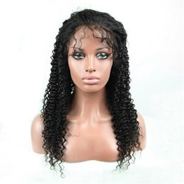 Wholesale human hair super long wig - Super quality 1b indian curly hair 100 virgin human hair lace front wig for black women free shipping