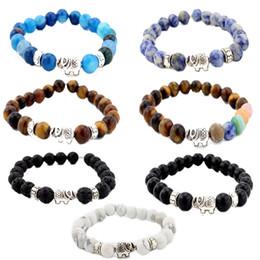 Wholesale Mens Stretch Bracelets - 8MM Kimter Mens Womens 7 Chakra Bracelet Cool Colorful Matte Agate Gems Beads Stretch Yoga Bracelet Christmas Gift 7 Styles B335S