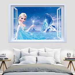 Wholesale Princess Room Decor - Syene Frozen Movie princess Elsa Anna cartoon charactor window wall sticker DIY art vinyl wall stickers decor mural decal removable kids