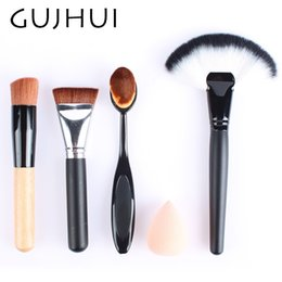 Wholesale Large Hair Sponges - Hot Sale Professional Makeup Brush Set With Sponge Puff Make Up Contouring Brushes Tool Large Fan Brush Blush Powder Gift #86764
