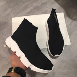 Wholesale Famous Brands Socks - hot salen Men and Women Designer Shoes Paris Famous Brand Speed Trainer Mid Black White Top Quality Sneakers Mens Sock Shoes Free Shipping