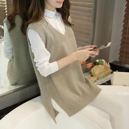 Wholesale Knitted Sweater Vest Korean - Wholesale-2016 New Autumn O-Neck Sleeveless Women Sweater Vest Female Korean Casual Cashmere Knitted Waistcoat Femininas