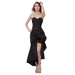 Wholesale Ladies Night Gowns - Free Shipping New Arrival Ladies Black Evening Dress Night Party Sweetheart High-Low Design Competitive Price Summer Gown