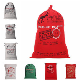Wholesale Christmas Canvas Santa Sack Drawstring Gift Bag cm Rustic Draw String Bag Christmas Decoration For Kids OOA2244