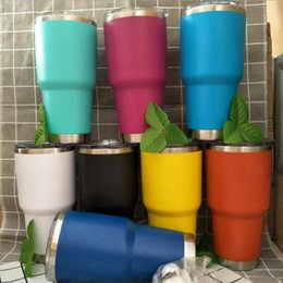 Wholesale Vacuum Mugs Coffee - 30OZ Stainless Steel Travel Mug Vacuum Insulated Tumbler Coffee Mug Double Wall Drinking Cups 8 Colors OOA2644