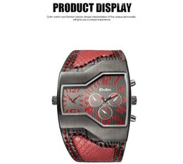 Wholesale Oulm Quartz - Oulm Top Luxury Brand Men Quartz Watches Double Time Show Snake Band Casual Male Sports Watches Clock Hours relogio masculino
