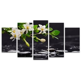 Wholesale Picture Pebbles - 5 Pieces HD Printed White Flower Black Pebble Stone Still Life Canvas Art Prints for Living Room Home Wall Deocration SJMT1912