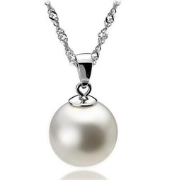 Wholesale Cheap Silver Chains Wholesale - High Quality 925 Sterling Silver 12mm Pearl Pendant Necklace Choker With Chain Fashion Silver Jewelry Cheap Wholesale
