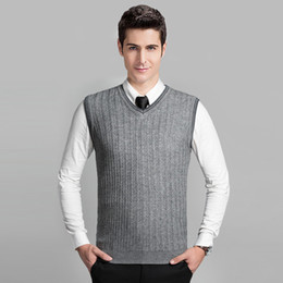 ce60557932b62 Wholesale- 2016 Latest Style Fashion Grey V neck Sleeveless Knitting  Pattern Mens Cable Sweater Vest
