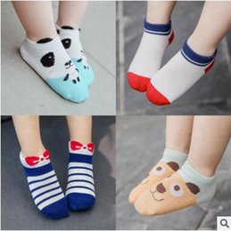 Wholesale Sock For Kids Fashion - Kids Ankle Socks Cartoon Panda Bear Baby Boys Girls Fashion Ankle Socks Summer Spring Trendy Socks For Baby Free Shipping 3 Pairs  lot