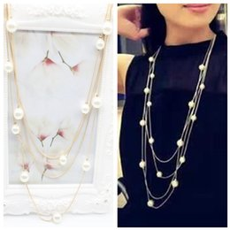 Wholesale Gold Chain Long Dress - Fashion Pearl Necklace Multilayer Chain Long Gold Plated Chain For Women Engagement Dress Accessories Necklaces & Pendants Jewelry