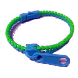 Wholesale New Zip Bracelet Wristband - New Trendy Zipper Bracelet Two Tone Double Color Hip Hop Plastic Zip Wristband Candy Bracelet Popular Zipper Bracelet Accessories 60colors