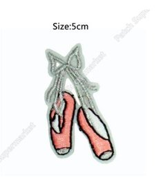 Wholesale Girls Ballet Shirts - Pink Ballet Shoes silver bow Dancing girl Iron On Patches For Clothing Embroidered Badge Applique For t shirt headband 5cm