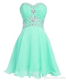 Wholesale Dresses For Teenagers - Mint Green Dress Crystal Short Graduation Dresses 2016 Vestido De Formatura Curto Cheap Homecoming Dress for Teenagers