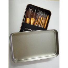 Wholesale Palette Metal - Makeup Palette Brush Kit Case 12 pcs Cosmetic Face Brush Set Liquid Foundation Eyeshadow Brush Blusher Brushes Travel Metal Box Set