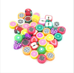 Wholesale Polymer Clay Making - 500pcs Mix design Fruit Slices Polymer Clay Beads assorted colors spacer Bead crafts Materials for jewelry making DIY 10mm