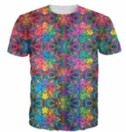 Wholesale psychedelic shirt men - Summer Style Flashbacks T-Shirt Colorful Psychedelic 3D Print T Shirt Hipster Hip Hop T Shirt Women Men Tees Tops S-5XL H40
