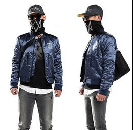 Wholesale Detail Gift - Watch Dogs Marcus Jacket Holloway Navy Blue Coat Costume Cosplay Game best gift high quality details